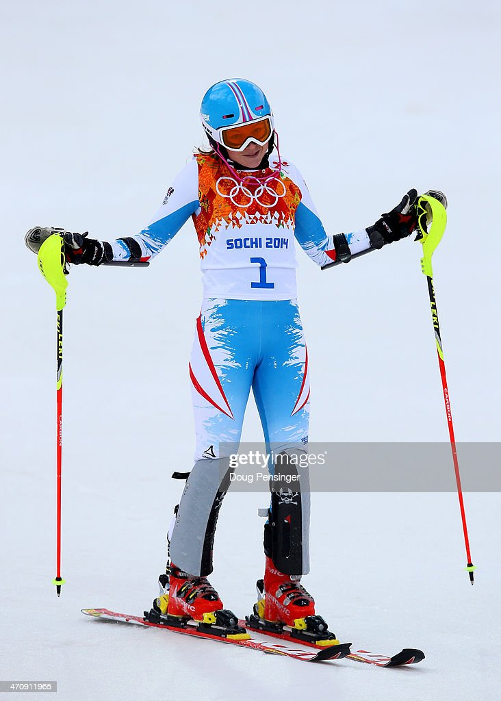 <a gi-track='captionPersonalityLinkClicked' href=/galleries/search?phrase=Bernadette+Schild&family=editorial&specificpeople=7408037 ng-click='$event.stopPropagation()'>Bernadette Schild</a> of Austria reacts after her first run during the Women's Slalom during day 14 of the Sochi 2014 Winter Olympics at Rosa Khutor Alpine Center on February 21, 2014 in Sochi, Russia.