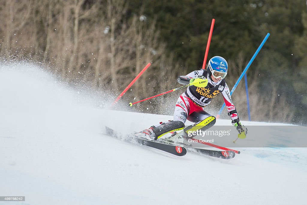 <a gi-track='captionPersonalityLinkClicked' href=/galleries/search?phrase=Bernadette+Schild&family=editorial&specificpeople=7408037 ng-click='$event.stopPropagation()'>Bernadette Schild</a> of Austria skis the first run of the ladies slalom at the 2014 Audi FIS Ski World Cup at the Nature Valley Aspen Winternational at Aspen Mountain on November 30, 2014 in Aspen, Colorado.