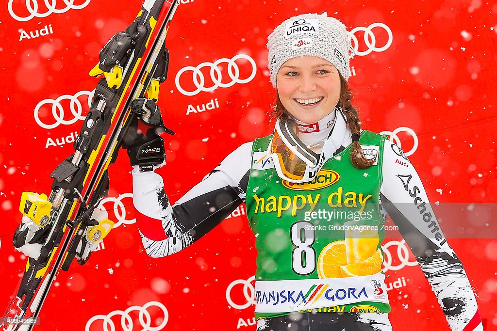<a gi-track='captionPersonalityLinkClicked' href=/galleries/search?phrase=Bernadette+Schild&family=editorial&specificpeople=7408037 ng-click='$event.stopPropagation()'>Bernadette Schild</a> of Austria takes 3rd place during the Audi FIS Alpine Ski World Cup Women's Slalom on February 02, 2014 in Kranjska Gora, Slovenia.