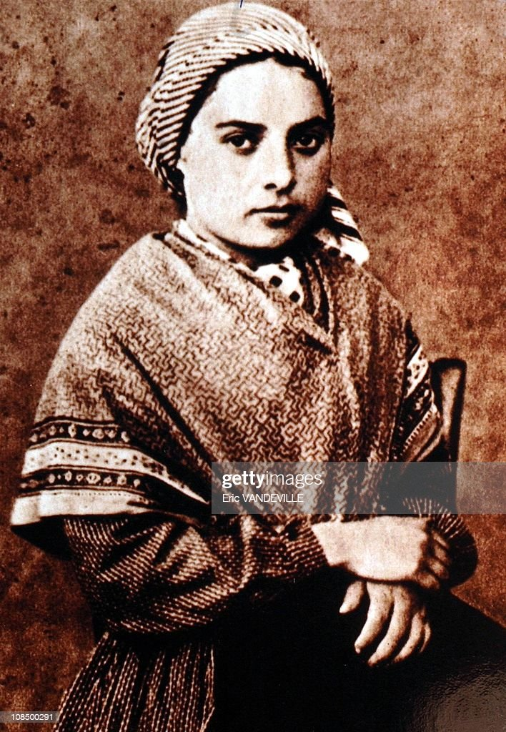<a gi-track='captionPersonalityLinkClicked' href=/galleries/search?phrase=Bernadette+Soubirous&family=editorial&specificpeople=251912 ng-click='$event.stopPropagation()'>Bernadette Soubirous</a>'s portrait. Pope Benedict XVI celebrates a special mass for the sick in front of the Basilica of the Rosary (Basilique Notre-Dame du Rosaire) whose waters are reputed to have the power of miraculous healing.in Lourdes, South of France on September 15, 2008. Pope Beneict XVI is in Lourdes to mark the 150th anniversary of apparitions of the Virgin Mary to a 14-year-old peasant girl, <a gi-track='captionPersonalityLinkClicked' href=/galleries/search?phrase=Bernadette+Soubirous&family=editorial&specificpeople=251912 ng-click='$event.stopPropagation()'>Bernadette Soubirous</a>.