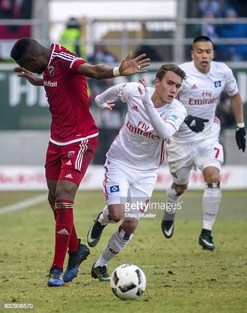 Bernado de Oliveira of Ingolstadt is challenged by GianLuca WAldschmidt of Hamburg during the Bundesliga match between FC Ingolstadt 04 and Hamburger...