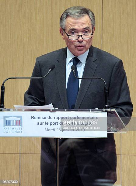 Bernard Accoyer President of French National Assembly delivers a speech on January 26 2010 in Paris during the presentation of a parliament report...