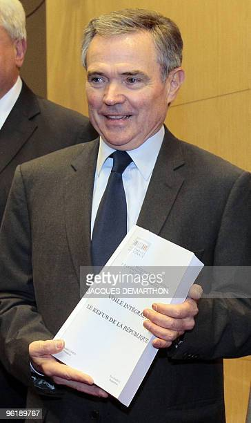 Bernard Accoyer President of French National Assembly presents on January 26 2010 in Paris the parliament report he received from a committee that...