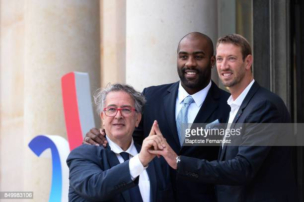 Bernard Amsalem Teddy Riner and Alain Bernard during the reception of the CIO by the French President at Elysee Palais on September 15 2017 in Paris...