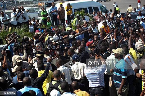 Bernard Aristride arrives to Port Au Prince on March 18 2011 in Port Au Prince Haiti Supporters Follow Aristride from the airport to his home