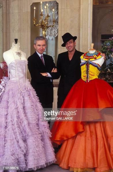 Bernard Arnault and John Galliano in France on April 16 1997