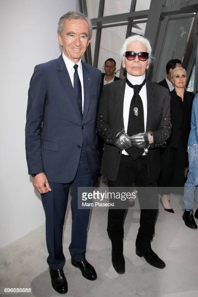 Bernard Arnault and Karl Lagerfeld attend the 'Young Fashion Designer' LVMH Prize 2017 edition at Fondation Louis Vuitton on June 16 2017 in Paris...