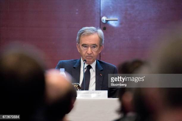 Bernard Arnault billionaire and chief executive officer of LVMH Moet Hennessy Louis Vuitton SE looks on during a news conference in Paris France on...