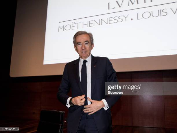 Bernard Arnault billionaire and chief executive officer of LVMH Moet Hennessy Louis Vuitton SE poses for photographers following a news conference in...