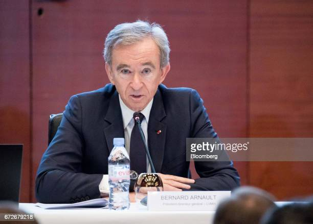 Bernard Arnault billionaire and chief executive officer of LVMH Moet Hennessy Louis Vuitton SE speaks during a news conference in Paris France on...