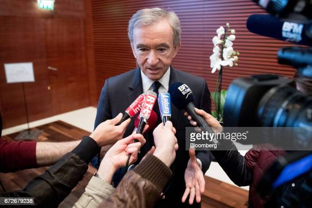 Bernard Arnault billionaire and chief executive officer of LVMH Moet Hennessy Louis Vuitton SE speaks to journalists following a news conference in...