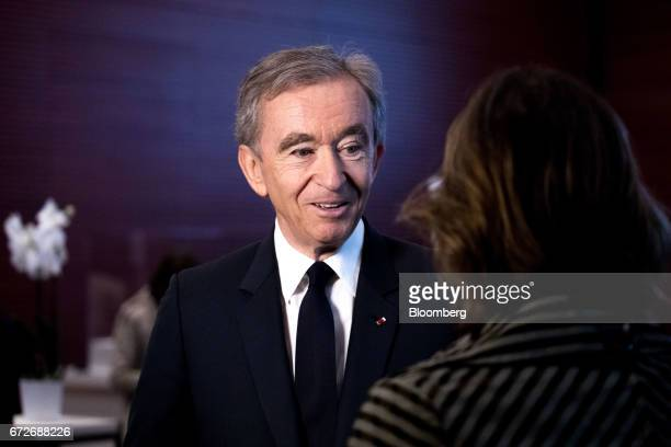 Bernard Arnault billionaire and chief executive officer of LVMH Moet Hennessy Louis Vuitton SE speaks following a news conference in Paris France on...