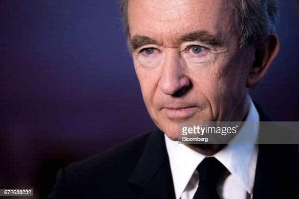 Bernard Arnault billionaire and chief executive officer of LVMH Moet Hennessy Louis Vuitton SE looks on following a news conference in Paris France...
