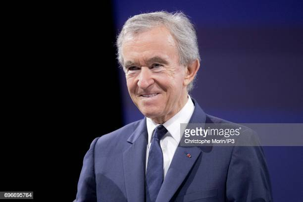 Bernard Arnault Chairman and CEO of LVMH attends a conference during Viva Technology at Parc des Expositions Porte de Versailles on June 16 2017 in...