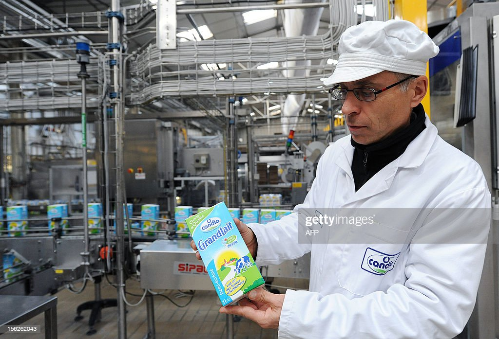 Bernard Auffray, industrial director of the Candia milk packaging site poses on November 12, 2012 in Le Lude, western France. The group announced on November 8, 2012 the upcoming closing of the factory in 2014 and also intends to close three of its Candia milk packaging sites thus eliminating 313 jobs.