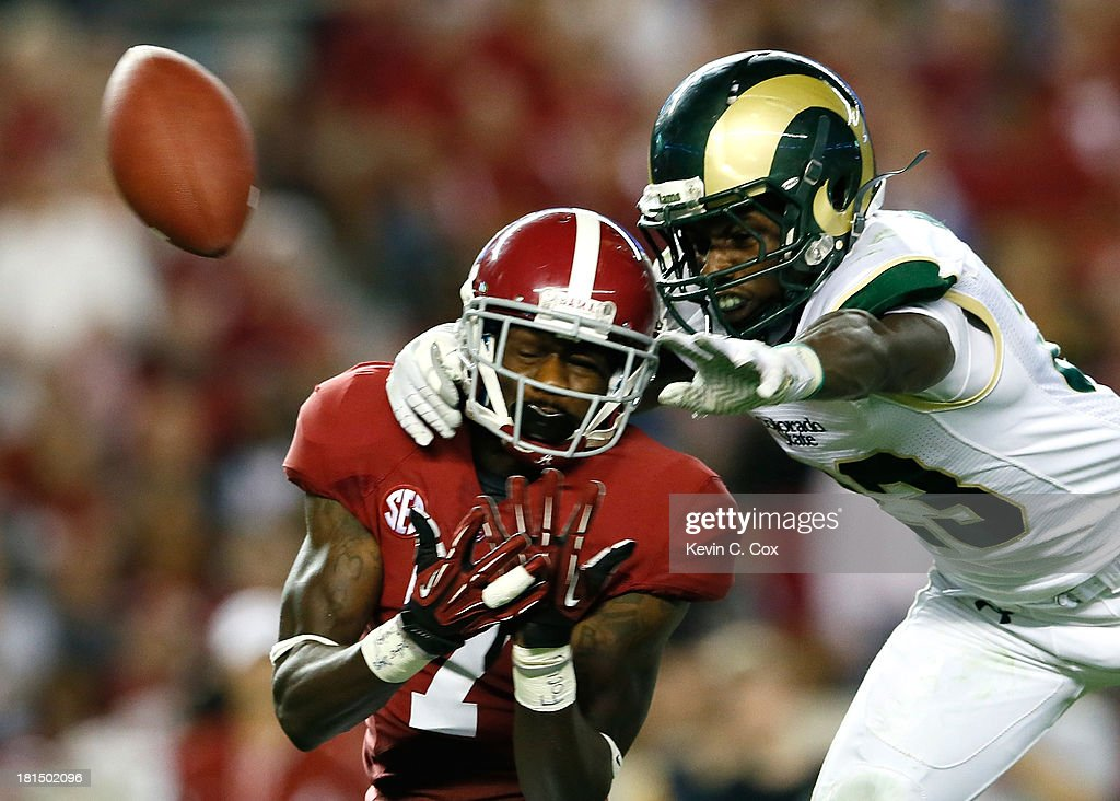 Bernard Blake #23 of the Colorado State Rams is called for pass interference as he breaks up this pass intended for Kenny Bell #7 of the Alabama Crimson Tide at Bryant-Denny Stadium on September 21, 2013 in Tuscaloosa, Alabama.