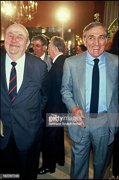 Bernard Blier and Lino Ventura for Cinecitta 50th Anniversary at'Fouquet's' Restaurant 1987