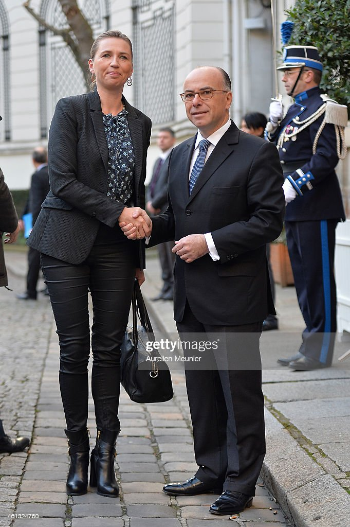 <a gi-track='captionPersonalityLinkClicked' href=/galleries/search?phrase=Bernard+Cazeneuve&family=editorial&specificpeople=4205153 ng-click='$event.stopPropagation()'>Bernard Cazeneuve</a> (R), French Minister of Interior welcomes Mette Frederiksen (L) the Danish Minister of Interior during the meeting with ministers of interior and homeland security held in the ministry of interior Place Beauvau on January 11, 2015 in Paris, France. The meeting is organised prior a lunch at Palais de l' Elysee and they will all join the mass unity rally held in Paris following the recent terrorist attacks