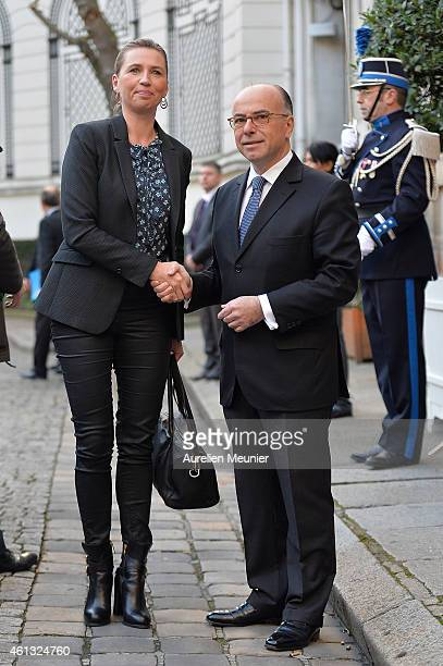 Bernard Cazeneuve French Minister of Interior welcomes Mette Frederiksen the Danish Minister of Interior during the meeting with ministers of...