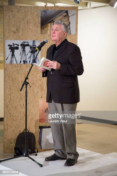 Bernard Cerquiglini reads 'Tombeau pour Cinq Cent Mille Soldats' for 50th anniversary of the book at Azzedine Alaia Gallery on October 19 2017 in...