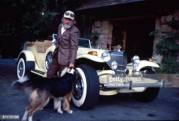 Bernard Cornfeld investor and fund manager and an exotic car and dog outside his Beverley Hills Mansion May 6 1979 Beverly Hills California