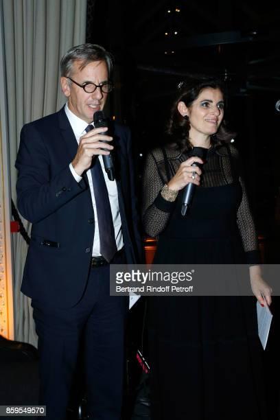 Bernard de la Villardiere and Sandrine Sarroche host the 'Diner des Amis de Care' at Hotel Peninsula Paris on October 9 2017 in Paris France