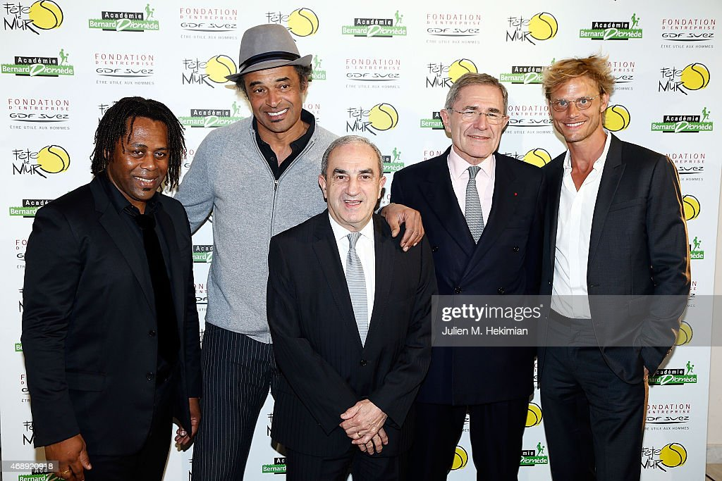 Bernard Diomede, <a gi-track='captionPersonalityLinkClicked' href=/galleries/search?phrase=Yannick+Noah&family=editorial&specificpeople=215249 ng-click='$event.stopPropagation()'>Yannick Noah</a>, President of Federation Francaise de Tennis <a gi-track='captionPersonalityLinkClicked' href=/galleries/search?phrase=Jean+Gachassin&family=editorial&specificpeople=5701397 ng-click='$event.stopPropagation()'>Jean Gachassin</a>, President of GDF-SUEZ <a gi-track='captionPersonalityLinkClicked' href=/galleries/search?phrase=Gerard+Mestrallet&family=editorial&specificpeople=585719 ng-click='$event.stopPropagation()'>Gerard Mestrallet</a> and Arnaud Lemaire attend the 'Sport Citoyen' Diner at UNESCO on April 8, 2015 in Paris, France.