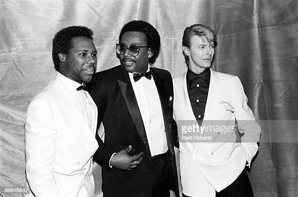 Photo of Bernard EDWARDS and CHIC and Nile RODGERS and David BOWIE Nile Rodgers Bernard Edwards and David Bowie posed at the Frankie Crocker Awards...