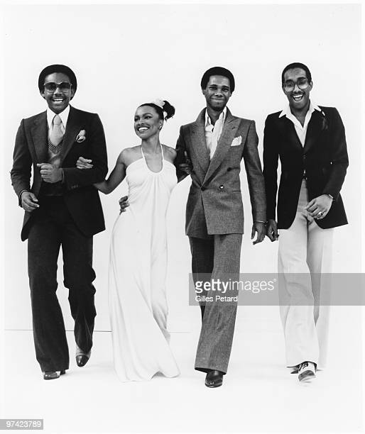 Bernard Edwards Norma Jean Wright Nile Rodgers and Tony Thompson pose for a studio portrait in 1977 in the United States