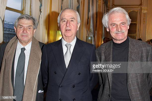 Bernard Esambert Former Prime Minister Edouard Balladur and Yann Arthus Bertrand in Paris France on March 19 2008