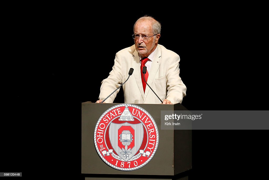 E Bernard Fautrier addresses the audience prior to HSH Prince Albert II of Monaco speaking at Mershon Auditorium at Ohio State University on August...