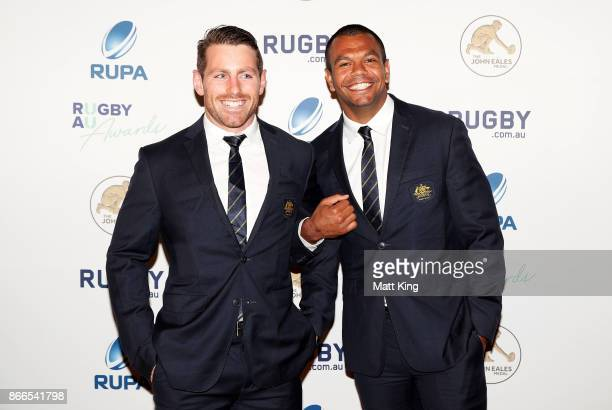 Bernard Foley and Kurtley Beale of the Wallabies arrive ahead of the 2017 Rugby Australia Awards at Royal Randwick Racecourse on October 26 2017 in...