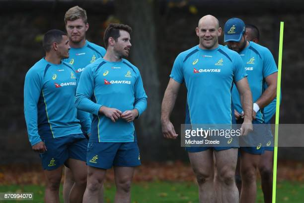 Bernard Foley and Stephen Moore during the Australia rugby training session at Sport Wales on November 6 2017 in Cardiff Wales