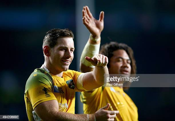 Bernard Foley and Tatafu PolotaNau of Australia celebrates after winning the 2015 Rugby World Cup Semi Final match between Argentina and Australia at...