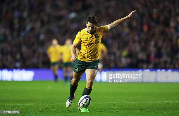 Bernard Foley of Australia kick the final conversion to seal victory during the Scotland v Australia Autumn Test Match at Murrayfield Stadium on...