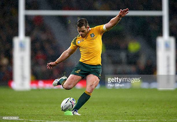 Bernard Foley of Australia kicks the match winning penalty during the 2015 Rugby World Cup Quarter Final match between Australia and Scotland at...