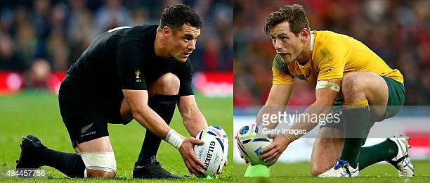 FILE PHOTO Image Numbers 494051830 and 492162652 In this composite image a comparison has been made between fly halfs Dan Carter of New Zealand and...