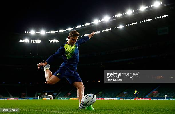 Bernard Foley of Australia practices during a kicking session at Twickenham Stadium on October 23 2015 in London United Kingdom