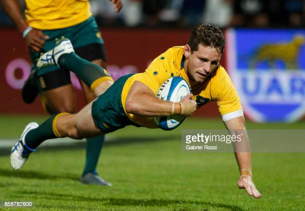 Bernard Foley of Australia scores a try during The Rugby Championship match between Argentina and Australia at Malvinas Argentinas Stadium on October...