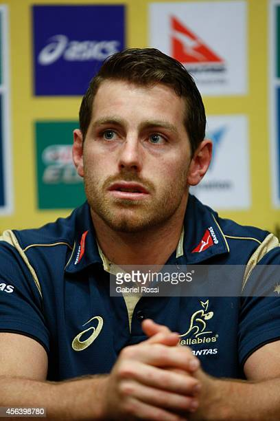 Bernard Foley of Australia speaks during an Australian Wallabies media session at the Emperador Hotel on September 30 2014 in Buenos Aires Argentina