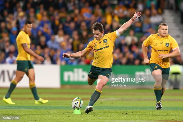 Bernard Foley of Australia takes a penalty kick during The Rugby Championship match between the Australian Wallabies and the South Africa Springboks...