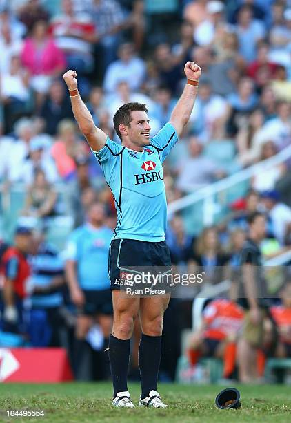 Bernard Foley of of the Waratahs celebrates after converting a penalty after the siren to claim victory during the round six Super Rugby match...