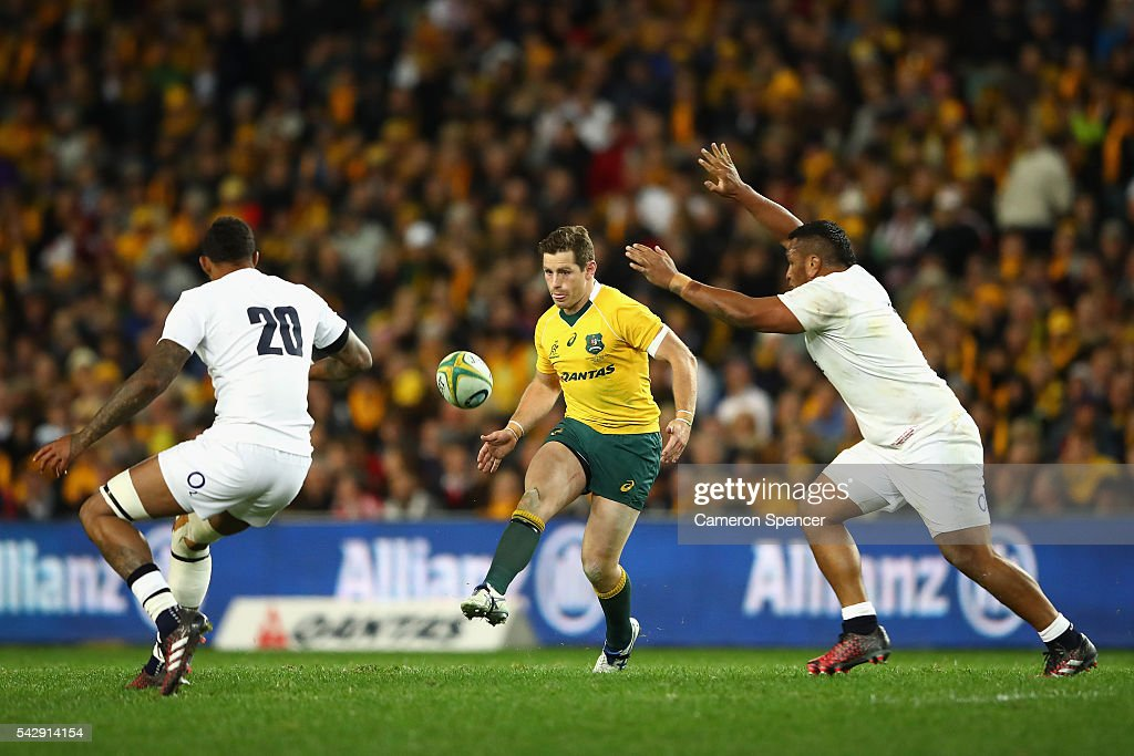 Bernard Foley of the Wallabies chips the ball ahead during the International Test match between the Australian Wallabies and England at Allianz Stadium on June 25, 2016 in Sydney, Australia.