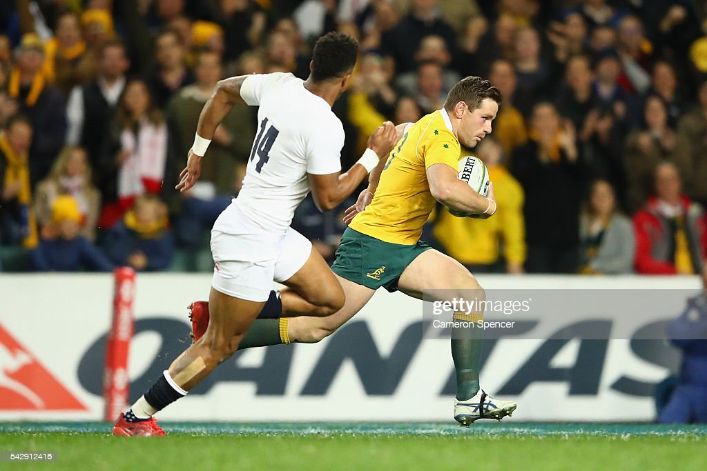 Bernard Foley of the Wallabies heads for the tryline during the International Test match between the Australian Wallabies and England at Allianz Stadium on June 25, 2016 in Sydney, Australia.