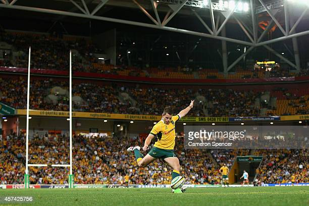 Bernard Foley of the Wallabies kicks for goal during The Bledisloe Cup match between the Australian Wallabies and the New Zealand All Blacks at...