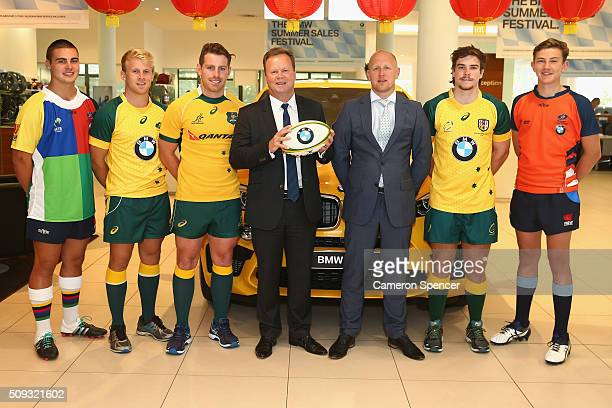 Bernard Foley of the Wallabies poses with Australian Rugby CEO Bill Pulver and BMW General Manager of Marketing Stuart Jaffray and Pathway to Gold...