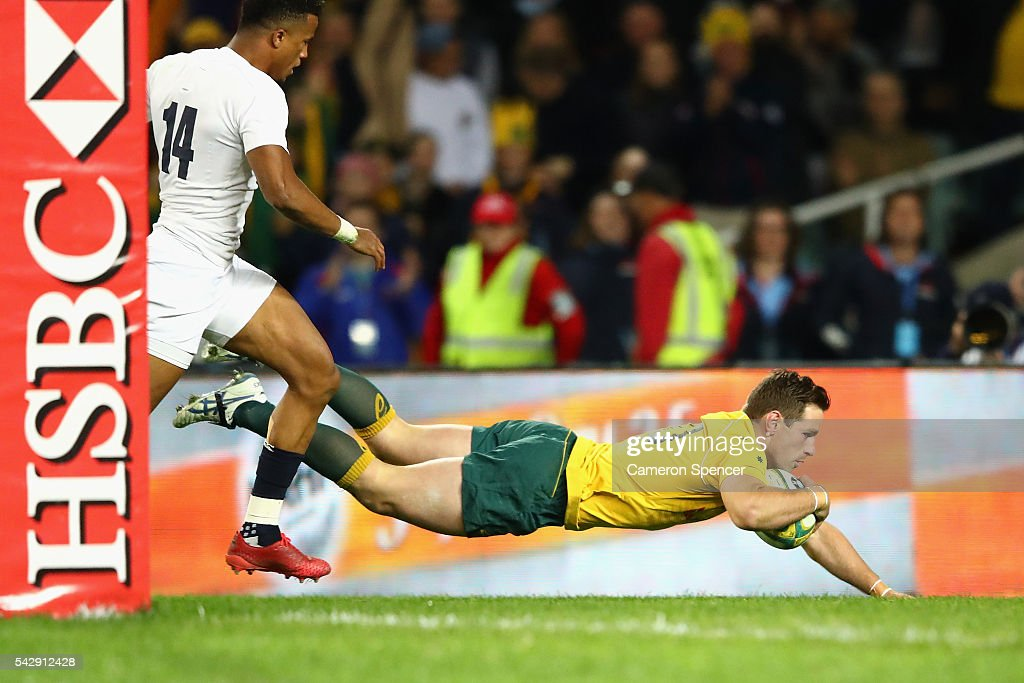 Bernard Foley of the Wallabies scores a try during the International Test match between the Australian Wallabies and England at Allianz Stadium on June 25, 2016 in Sydney, Australia.