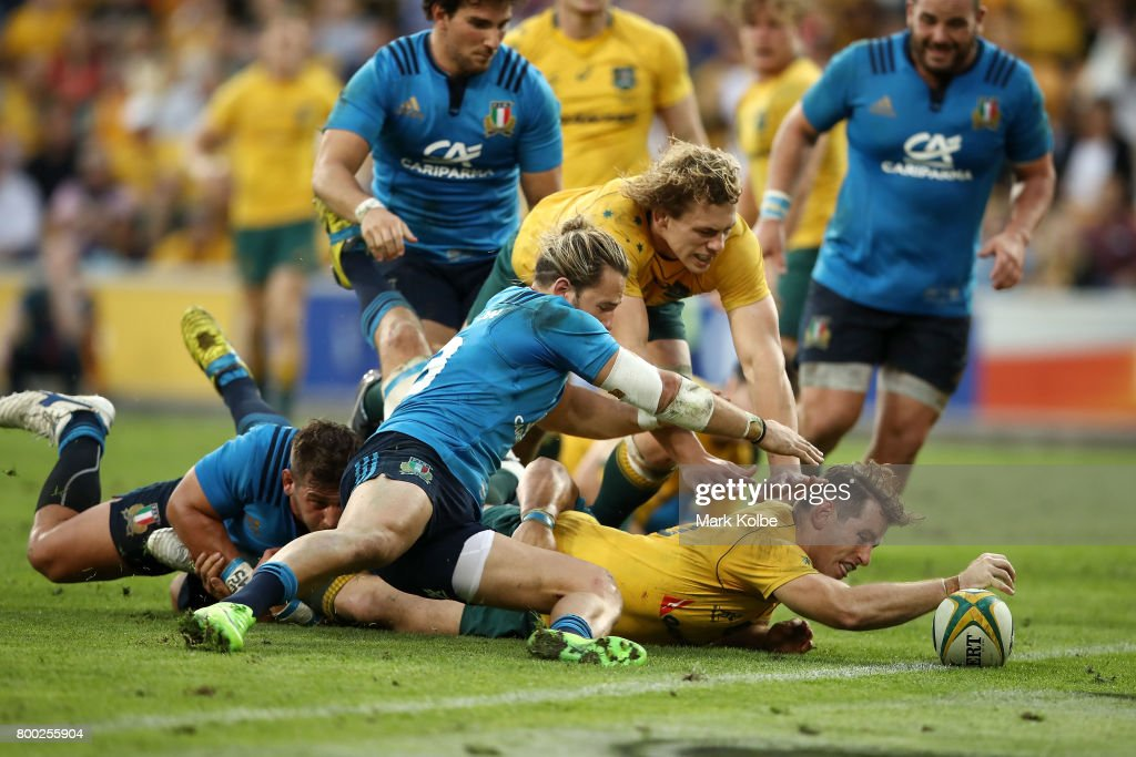 Bernard Foley of the Wallabies scores a try during the International Test match between the Australian Wallabies and Italy at Suncorp Stadium on June 24, 2017 in Brisbane, Australia.