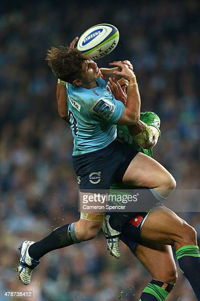 Bernard Foley of the Waratahs attempts to take a high ball during the Super Rugby Semi Final match between the Waratahs and the Highlanders at...
