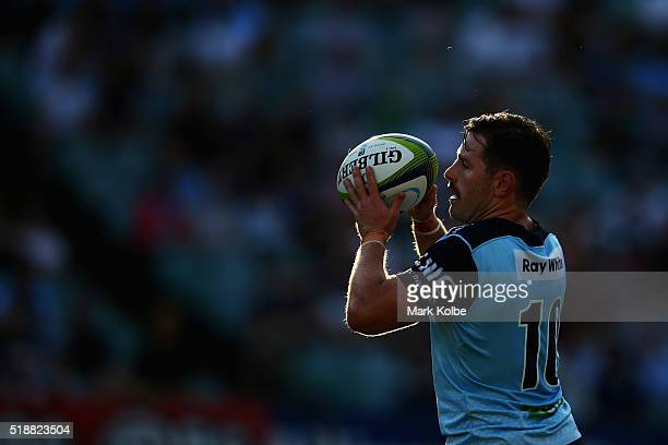 Bernard Foley of the Waratahs catches the ball from a kick during the round six Super Rugby match between the New South Wales Waratahs and the...